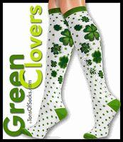 Women's Green Clovers Knee Socks