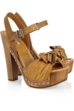 Miu Miu Bow-Embellished Washed-Leather Sandals