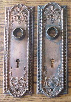 pair (2) solid brass antique vintage door knob plates more available.