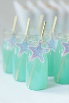 DIY mermaid under the sea birthday party ideas. Blue raspberry lemonade.