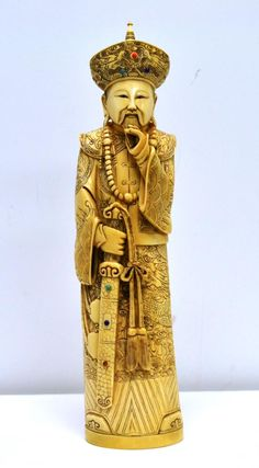 "Hand carved and signed CHINESE IVORY EMPEROR, this piece stands 10 1/2"" tall."