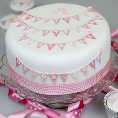 Girls Christening Cake Bunting Decoration Kit