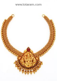 22K Gold 'Lakshmi' Necklace (Temple Jewellery)