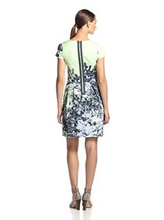Blue Les Copains Women's Watercolor Print Dress (Green Print)