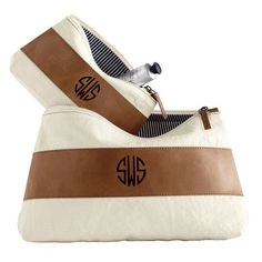 Canvas with Leather Cosmetic Bags | Mark and Graham...cute for the hubs.