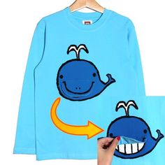 $5.99 Cute Whale Boys Animal Graphic Cotton Tee in Blue for Ages 1 to 7 years