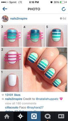 Ombré stripe nails