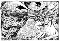 Thing & Torch vs Gladiator by John Byrne, in J.Hollon's Byrne, John commissioned art Comic Art Gallery Room