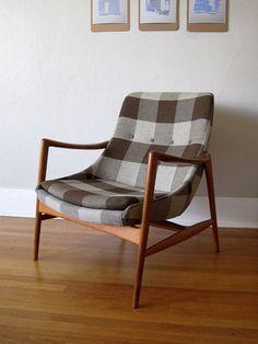 Plaid Norwegian mid-century modern chair.