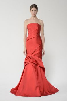 Solid Scuba Strapless Draped Trumpet Gown by Monique Lhuillier #Gown #Women #Fashion