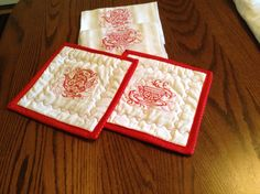 Vintage style Tea Towels and matching Potholders, Red embroidery by mommomsquilts on Etsy
