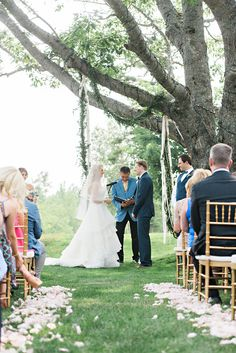 #Bride and #Groom on #wedding Day. looking down isle. #flowers #garland #outdoor #love #couple #cute #romantic #whimsical #love