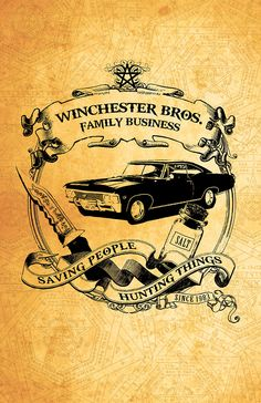 SALE Supernatural Winchester Print  - 11 x 17 Glossy Cardstock Poster - Saving People, Hunting Things; The Family Business by AndroidSheepFTW on Etsy https://www.etsy.com/listing/167521398/sale-supernatural-winchester-print-11-x