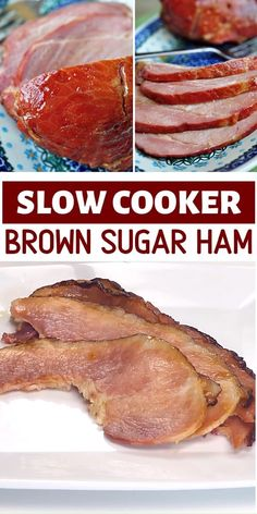 Slow Cooker Brown Sugar Ham Slow Cooker Brown Sugar Ham is an easy main dish perfect for your Thanksgiving dinner parties! This recipe is flavored with pineapple juice and a brown sugar glaze featurin Recipes With Cooked Ham, Slow Cooker Ham Recipes, Cooking Recipes, Cooked Ham Recipe, Oven Cooked Ham, Ham In Slow Cooker, Cooking Ham In Crockpot, Cooking Box, Deserts