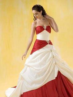 Свадебное платье красно белое