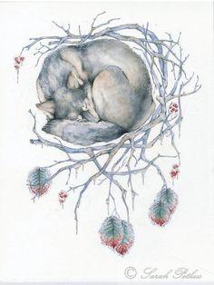 Winter 11x14 wolf dream catcher archival animal by NestandBurrow