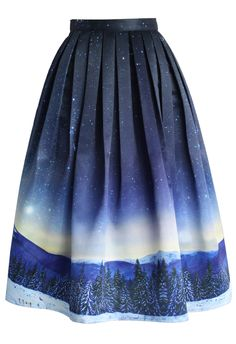 Starry Starry Night Pleated Midi Skirt - Skirt - Bottoms - Retro, Indie and Unique Fashion