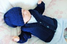 """Navy blue hand knitted baby cardigan/sweater and beanie style hat to fit approx 2-6 months or reborn baby 21""""-22"""" by KosyKnits on Etsy"""