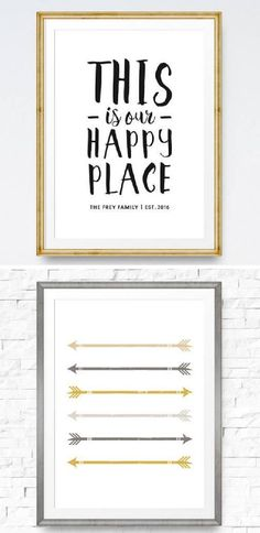 This is Our Happy Place printable - Beautiful wall hanging printable for the home - Customizable for your family - Gold and grey arrows #printables #sign #diysign #quote #happyplace #affiliate