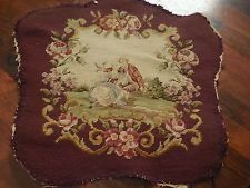 Antique Vintage French Needlepoint Chair Cover BackFront SideTextile Fabric