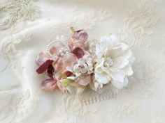 dusty pink bridal hair comb ivory and dusty by thehoneycomb