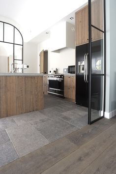Our floor L & # Authentique is a natural stone floor of Belgian bluestone, . - Our floor L & # Authentique is a natural stone floor made of Belgian bluestone, which we age co - Flooring, Room Flooring, Kitchen Style, Kitchen Flooring, Remodel, Natural Stone Flooring, Kitchen Remodel, Stone Flooring, Home Decor