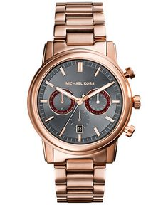 Michael Kors Men's Chronograph Pennant Rose Gold-Tone Stainless Steel Bracelet Watch 43mm MK8370 - Watches - Jewelry & Watches - Macy's