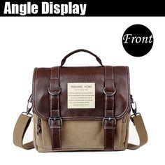 Men Retro Casual Canvas Messenger Crossbody Bag Multifunctional Backpack…