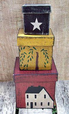 Primitive salt box shaker set