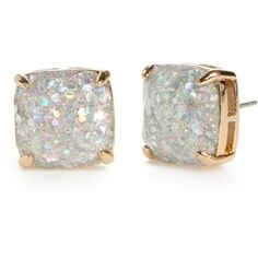 Kate Spade New York Opal Glitter Small Square Stud Earrings (57 NZD) ❤ liked on Polyvore featuring jewelry, earrings, opal glitter, sparkly earrings, stud earring set, glitter jewelry, opal jewelry and opal stud earrings