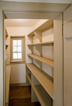 add a lip or low brace bar to each shelf preventing jar slips & breakage, make pantry wider for wheelchair accessibility