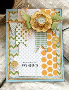 Birthday Wishes - pretty colors pretty layout - LOVE the file folder and the button on the tab