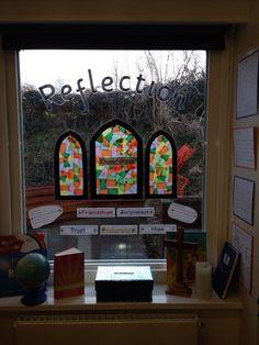 Reflection Area Christian Values Teaching Classroom Class Displays, School Displays, Classroom Displays, Classroom Prayer, New Classroom, Classroom Decor, Christian Classroom, Christian School, Values Education