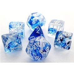 RPG Dice Set (Nebula Blue) role playing game dice.  soo pretty @_@