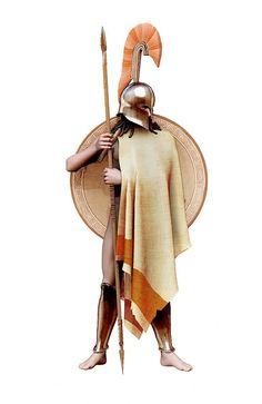 Classical era Greek #hoplite with a #corinthian style #helmet. ... The helmet with the transverse is usually for #Spartan officers or #nobility