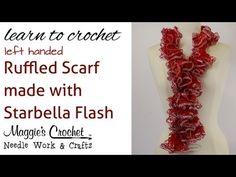 Knitting Patterns Scarf Crochet Super Easy Ruffled Scarf using Starbella Flash Yarn Ruffle Yarn, Crochet Ruffle Scarf, Crochet Scarves, Crochet Shawl, Crochet Yarn, Hand Crochet, Double Crochet, Easy Crochet Patterns, Knitting Patterns