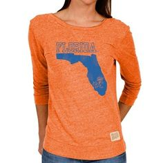 Florida Gators Original Retro Brand Women's 3/4 Sleeve Back Scoop Neck T-Shirt - Orange