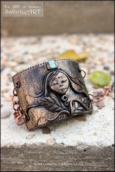 Bracelet polymer clay tirquoise stone copper chain by SweetlyART, $43.00