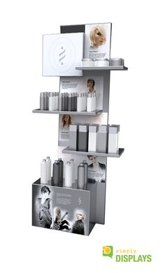 Cosmetic Display made from sheet metal shelves and powder coated silver for a clean and professional look