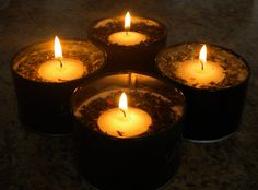 Tea Lights- Love the smell of fresh tea, use your favorite loose tea and their (empty) canisters to make these candles.  Instead of putting a wick through the whole thing make some space for an unscented tea light so you can use it over and over!