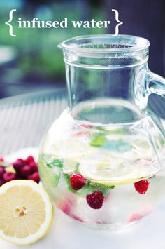 Mint, Raspberry, and Lemon infused water