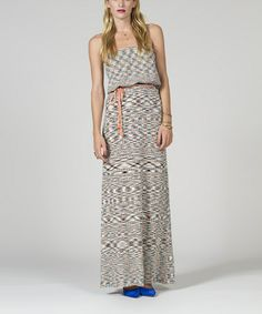 Take a look at this Sorbet & Black Space Dye Strapless Maxi Dress - Women by Stacia on #zulily today!