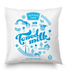 In 2011, Mother Dairy felt the need to refresh their milk package design in order to keep up with newer, more contemporary and competitive brands entering the market. The new design, with handcrafted typography and graphic elements that portray a happy village, dials up the Mother Dairy promise of purity and quality. It has set a completely new standard for packaging in the Indian dairy industry. via http://www.thedieline.com/blog/2012/11/26/mother-dairy.html#