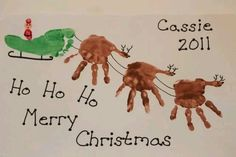 Handprint art is as cute as it gets. Well, except for footprint art, that might be a bit more cute. It all depends on the shape of the toes. Christmas Handprint Crafts, Handprint Art, Christmas Activities, Christmas Crafts For Kids, Winter Christmas, Holiday Crafts, Holiday Fun, Christmas Holidays, Christmas Gifts