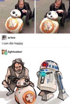 Luke likes BB-8, R2 is pissed.