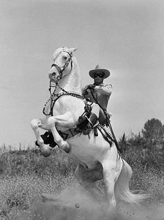 """The Lone Ranger. """"Hi-yo, Silver, away!"""" starring Clayton Moore and Jay Silverheels. I loved this for the horses and had no idea I was learning all kinds of unpleasant stereotypes about Native Americans, which I've spent a great deal of time unlearning."""