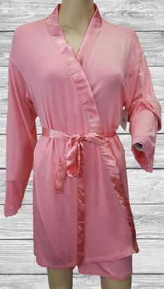 Isaac Mizrahi Comfortable Lounge Jersey Knit Wrap Robe Pink Lace trim  Sleeves M fddd050c7