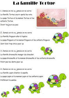 Nursery Rhyme The Turtle Family - French Poems, French Quotes, French Teaching Resources, Teaching French, How To Speak French, Learn French, Montessori, Bottle Label, Autism Education