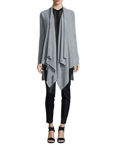 Fisher Project Cashmere Cascade Cardigan, Silk Georgette Tunic W/ Step Hem & Coated Stretch Denim Leggings  by Eileen Fisher at Neiman Marcus.