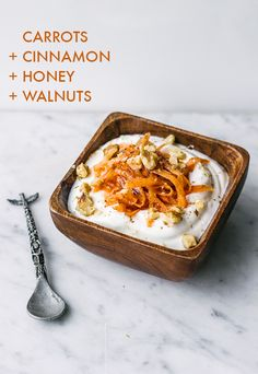 Yogurt with carrots, cinnamon, honey, and walnuts | 16 Delicious Yogurt Topping Combos